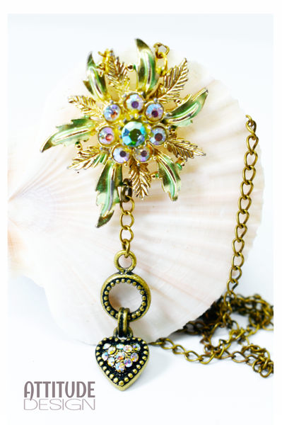 Repurposed costume brooch necklace picture