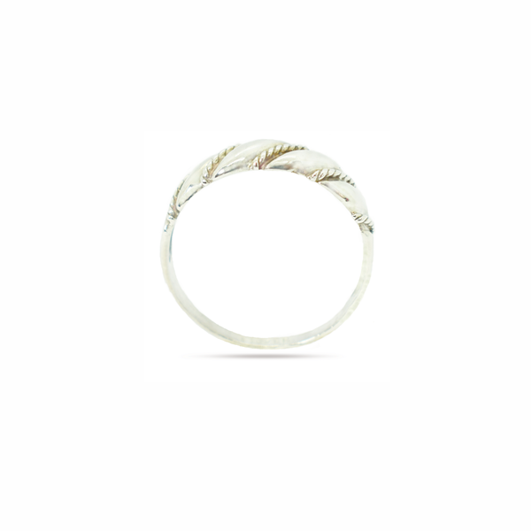 Twisted rope sterling silver ring picture