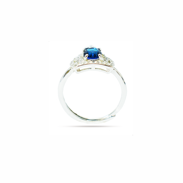 Blue 'royal crown' zirconia sterling silver ring picture