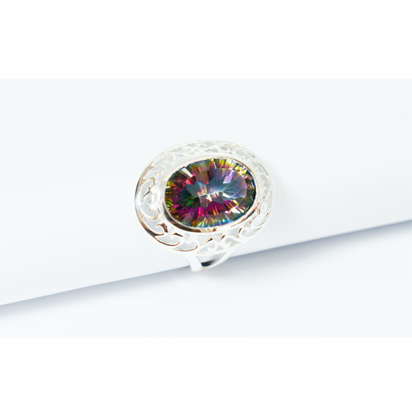 Natural mystic rainbow topaz sterling silver ring picture