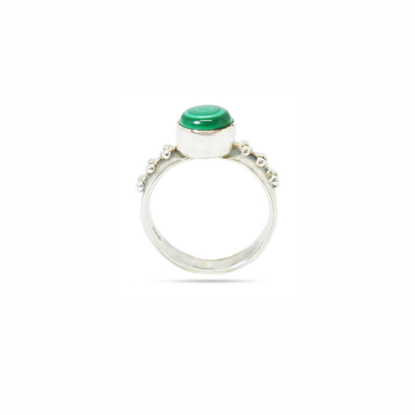 Natural malachite sterling silver ring picture