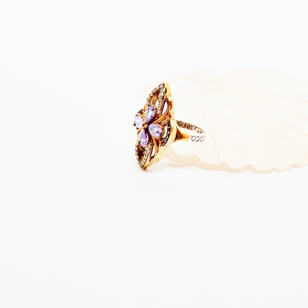 Vintage natural amethyst, topaz and onyx sterling silver ring picture