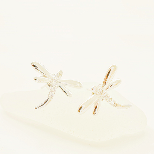 Zirconia dragonfly sterling silver stud earrings picture
