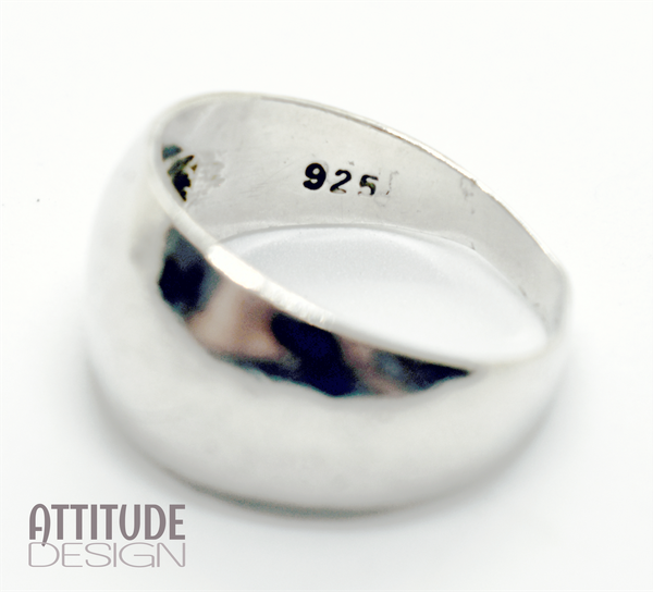 Domed sterling silver ring picture