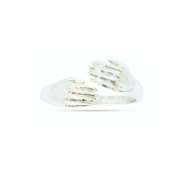 Friendship hands sterling silver ring picture
