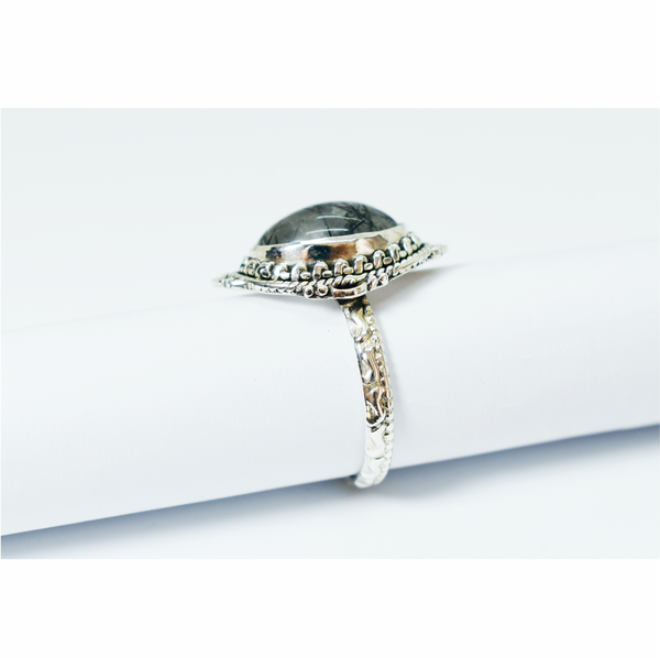 Black tourmaline rutile sterling silver ring picture