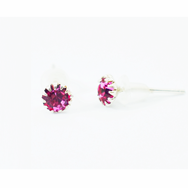 Tourmaline birthday zirconia sterling silver studs picture