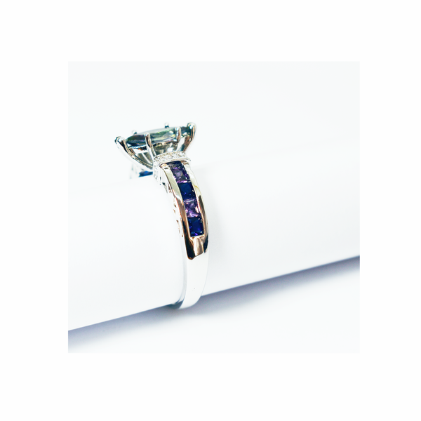 Natural mystic topaz silver ring picture