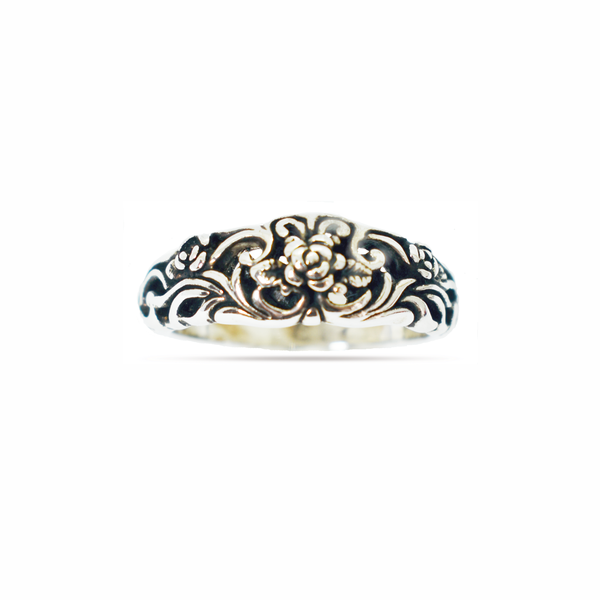 Floral oxidised sterling silver ring picture