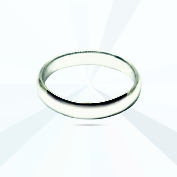 Plain rounded sterling silver band ring picture