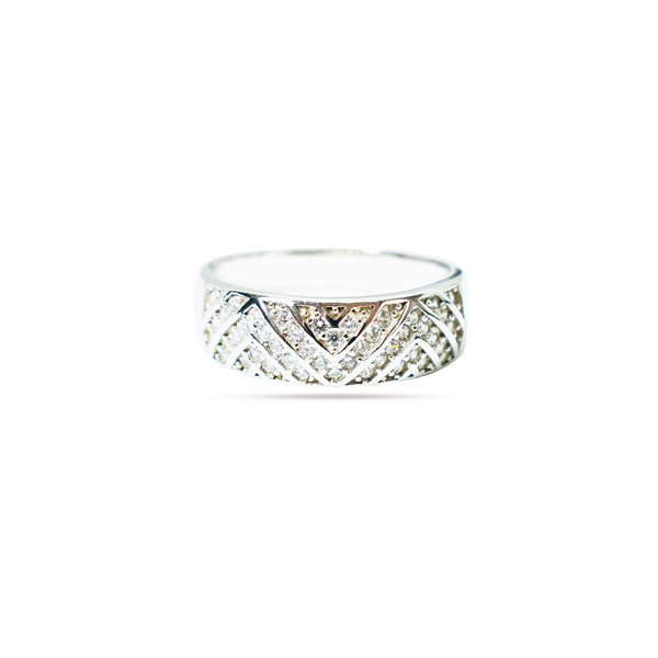 Paved zirconia sterling silver ring picture