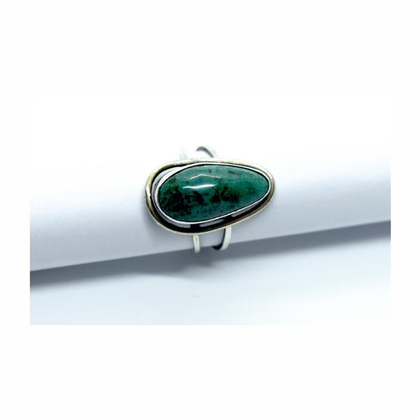 Vintage natural eilat turquoise sterling silver ring picture
