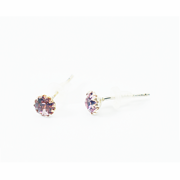 Amethyst birthday zirconia sterling silver studs picture