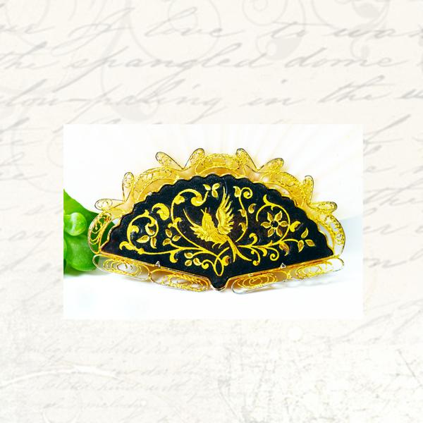 Vintage damascene fan costume brooch picture