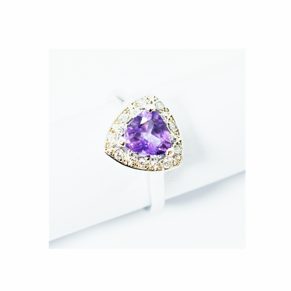Purple zirconia sterling silver ring picture