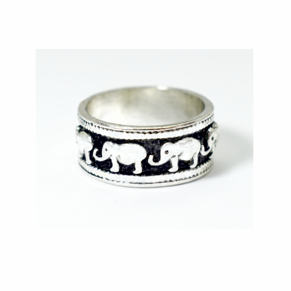 Oxidised elephant sterling silver ring picture