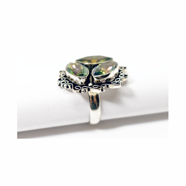 Pre-owned mystic topaz sterling silver ring picture