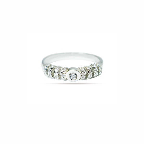 Zirconia eternity sterling silver ring picture