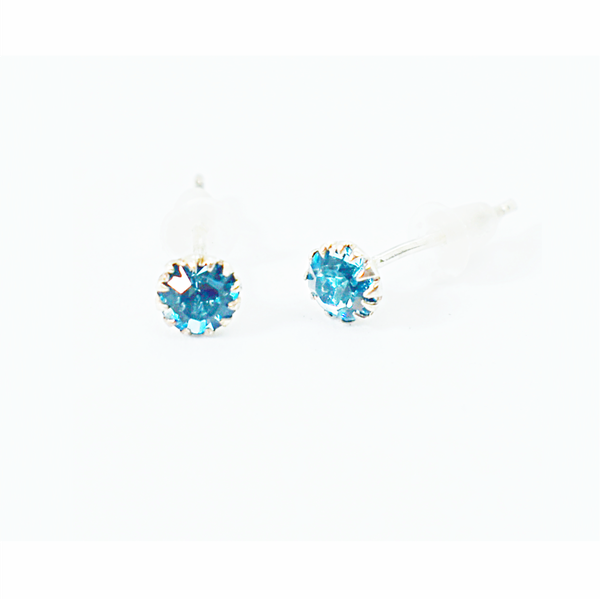 Turquoise birthday zirconia sterling silver studs picture