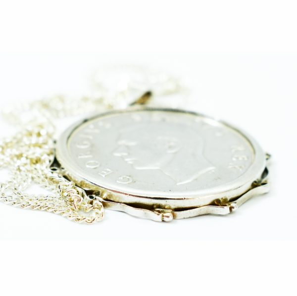 1948 silver 5 shilling coin necklace picture