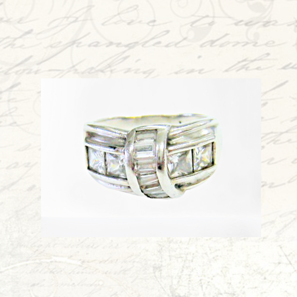 Antique zirconia sterling silver ring picture