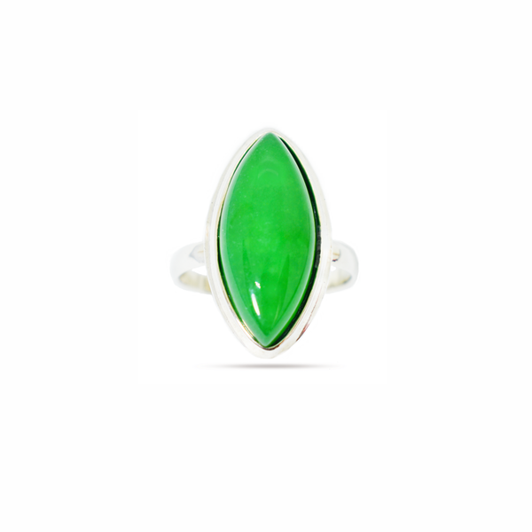 Natural green agate sterling silver ring picture