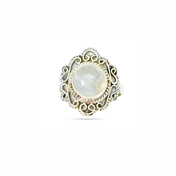 Natural rainbow moonstone sterling silver ring picture