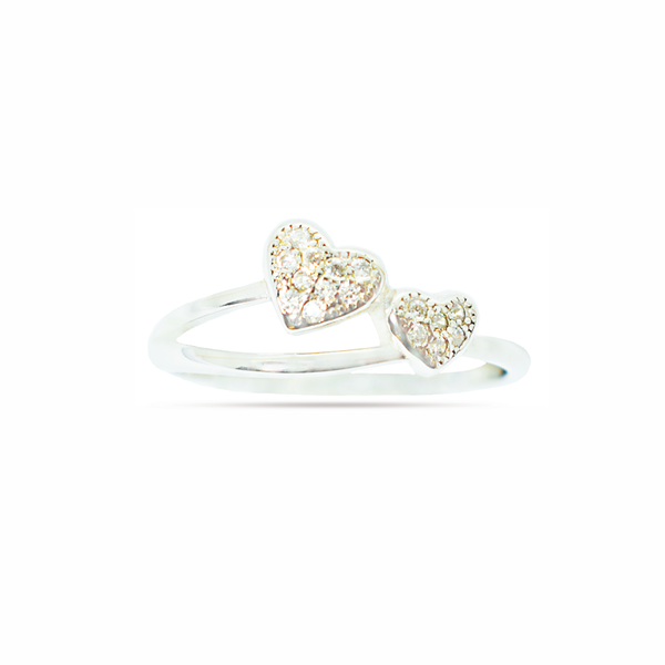 Zirconia double heart silver ring picture