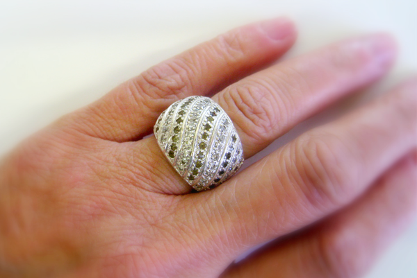Vintage paved zirconia sterling silver ring picture