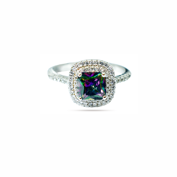 Natural mystic topaz sterling silver ring picture