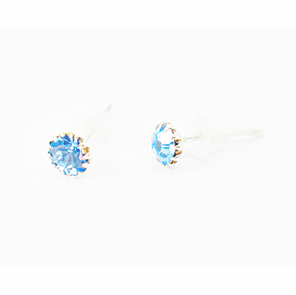 Aquamarine birthday zirconia sterling silver studs picture