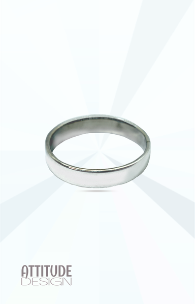 Classic plain flat sterling silver band ring picture