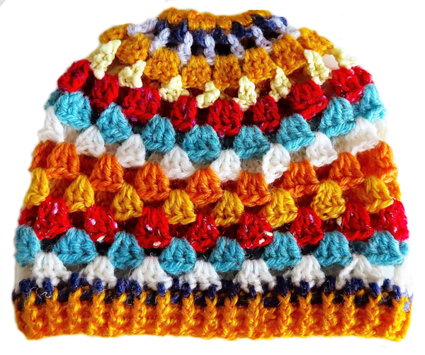 Adult crocheted beanie for a ponytail picture