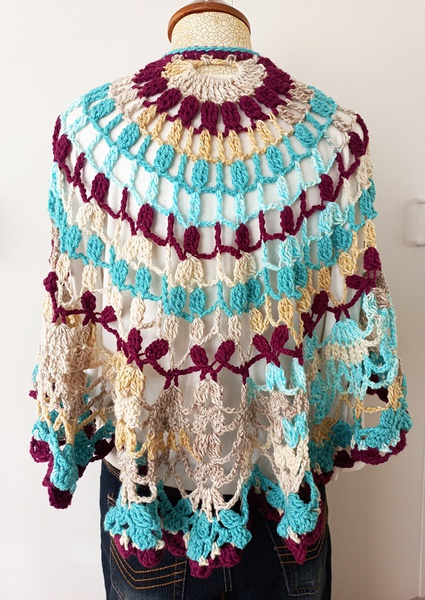 Purple-turquoise crochet shawl picture