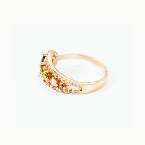 Multi-colour zirconia rose gold sterling silver ring picture