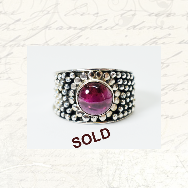 Sold vintage natural amethyst sterling silver ring picture