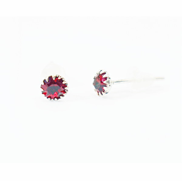 Ruby birthday zirconia sterling silver studs picture