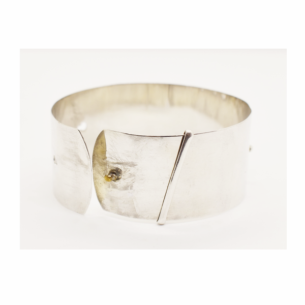 Vintage wide sterling silver engraved cuff bangle picture