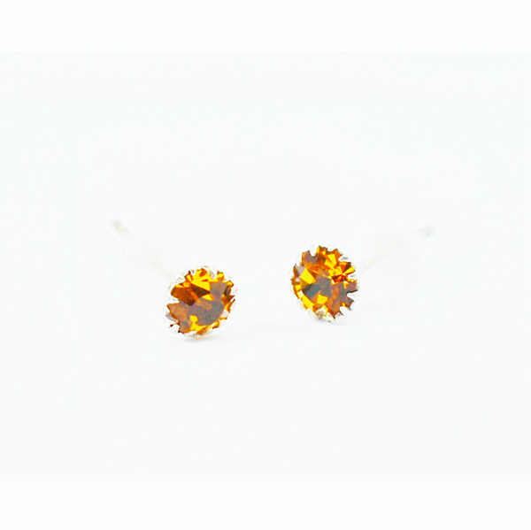 Citrine birthday zirconia sterling silver studs picture
