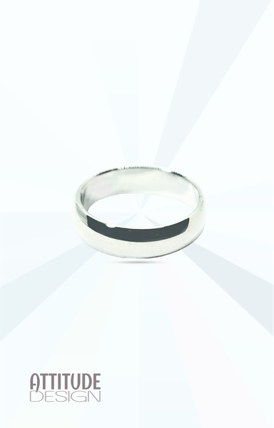 Thick plain round sterling silver band ring picture