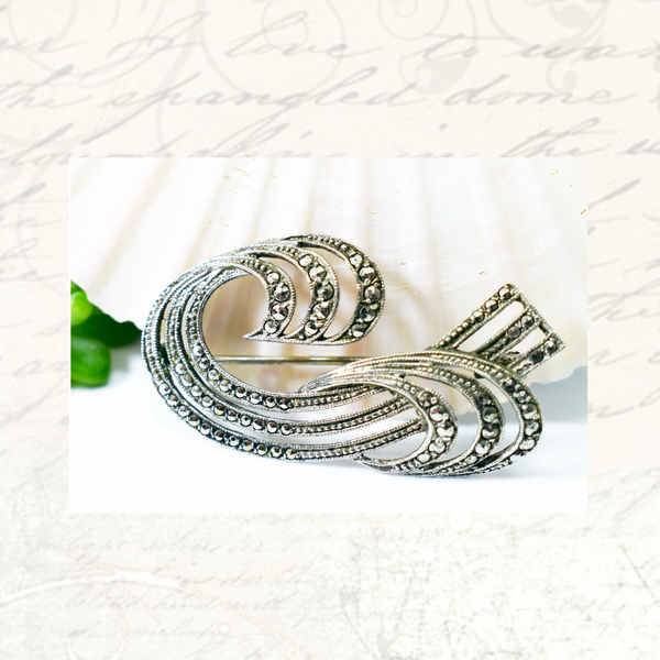 Vintage art deco sterling silver marcasite brooch picture
