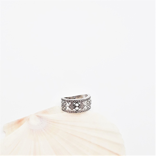 Zirconia wedding sterling silver ring picture