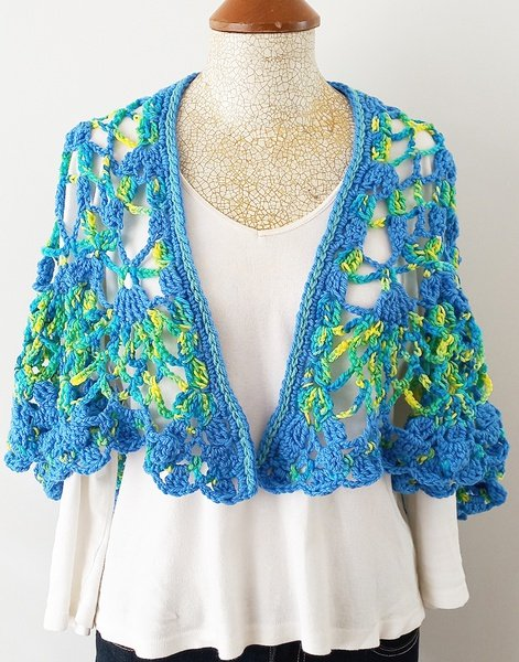 Blue-lime crochet shawl picture