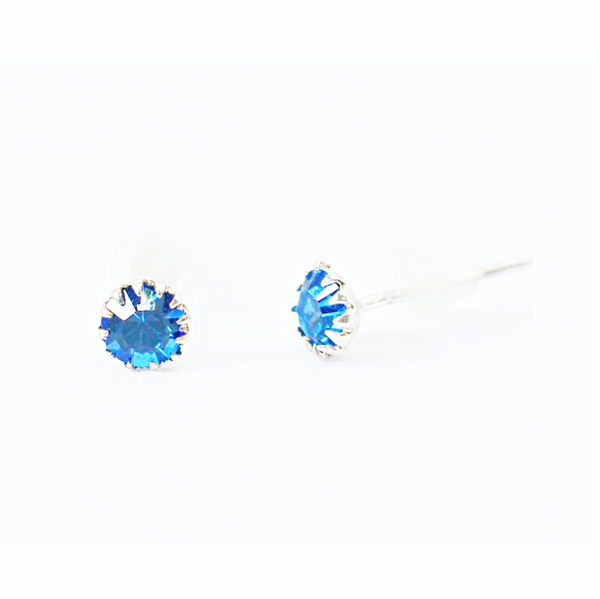 Sapphire birthday zirconia sterling silver studs picture