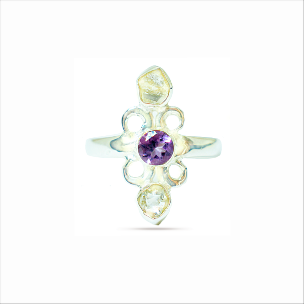 Natural raw herkimer 'diamond' and amethyst sterling silver ring picture
