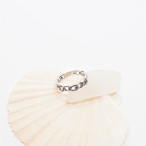 Chain link zirconia sterling silver ring picture