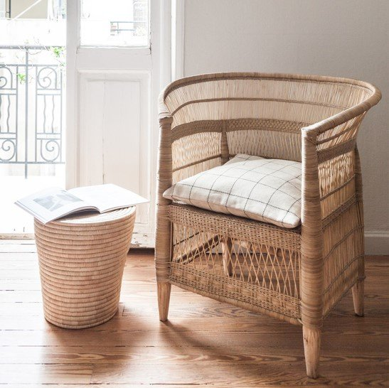 Hand-woven natural malawian cane chairs picture