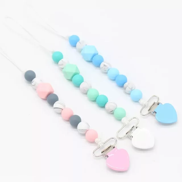 Teething silicone heart metal dummy clip picture