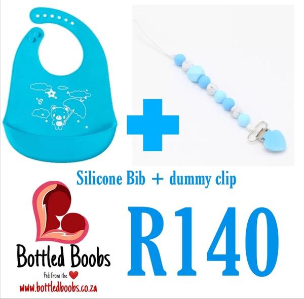 Silicone bib and dummy clip picture
