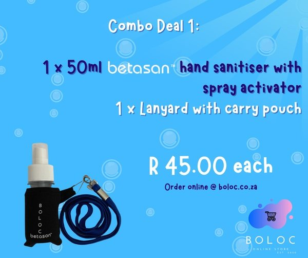 50ml sanitiser pouch lanyard - combo deals picture